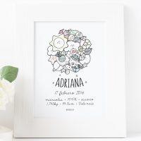 Lámina personalizada de nacimiento para Adriana